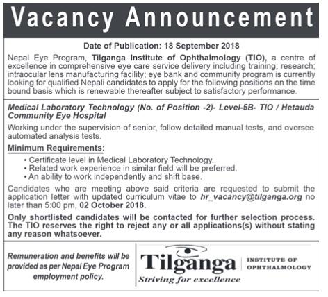 Tilganga Vacancy 2018
