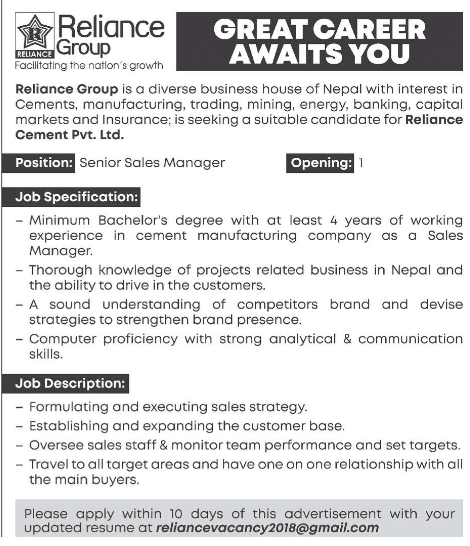 Senior Sales Manager Vacancy 2076