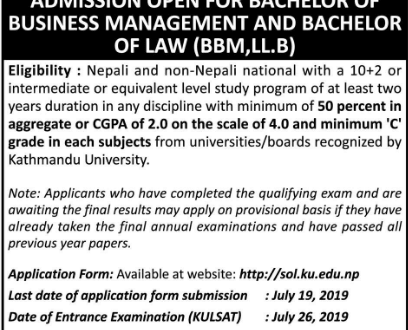 Kathmandu University Admission Open in LLB for the Year 2076 | Study