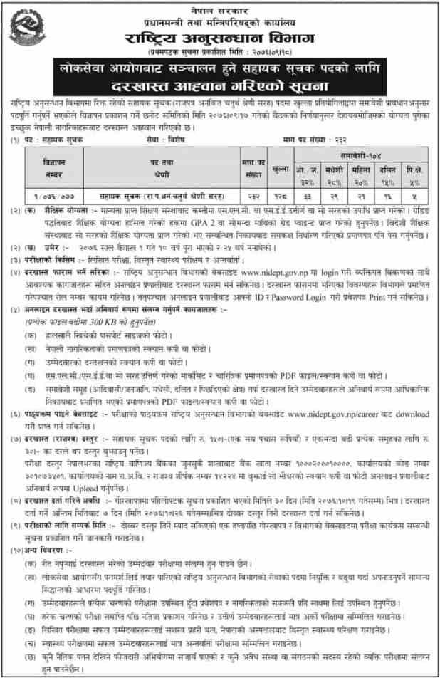 Rastriya Anusandhan Vacancy 2076