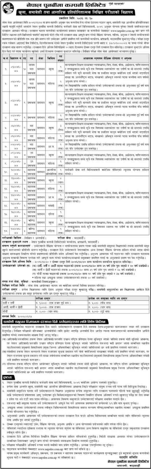 Nepal Punarbima Company Vacancy