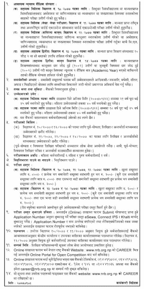 Nepal Rastra Bank Vacancy