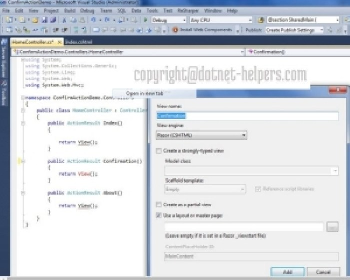 Confimation message after click in mvc - dotnet-helpers