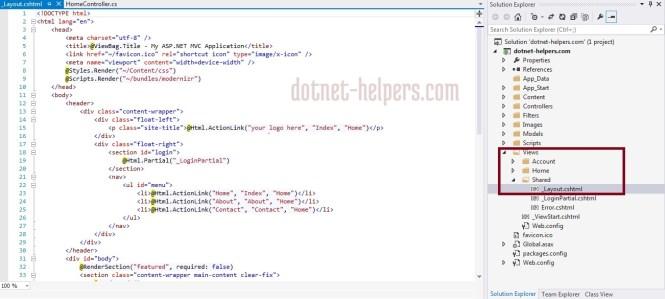 MVC Layouts - dotnet-helpers
