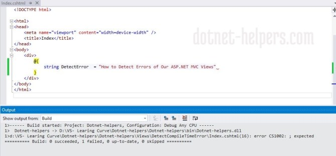 How to Detect Errors of Our ASP.NET MVC Views on Compile Time - Detect error- dotnet-helpers