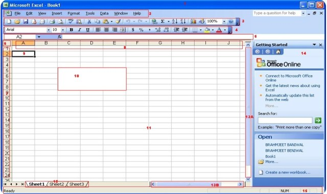 Screen of Microsoft Excel 2003 2