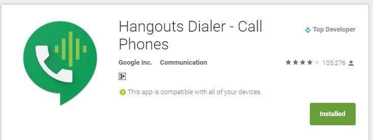 Hangout Dialer Google Play Link