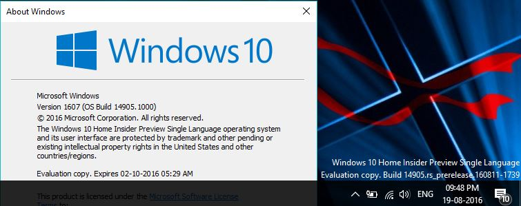 Windows 10 Insider Preview Build 14905