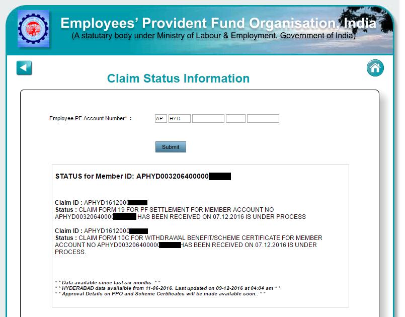 PF Claim Withdrawal Status