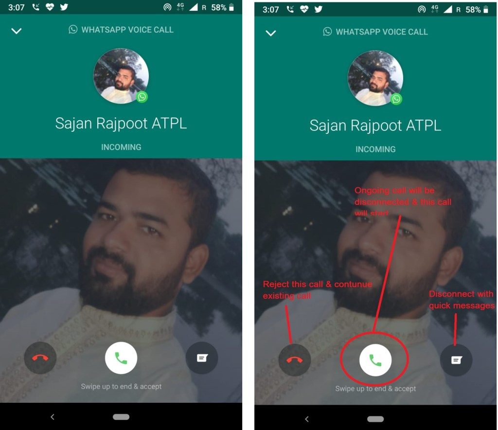 WhatsApp call Waiting Feature
