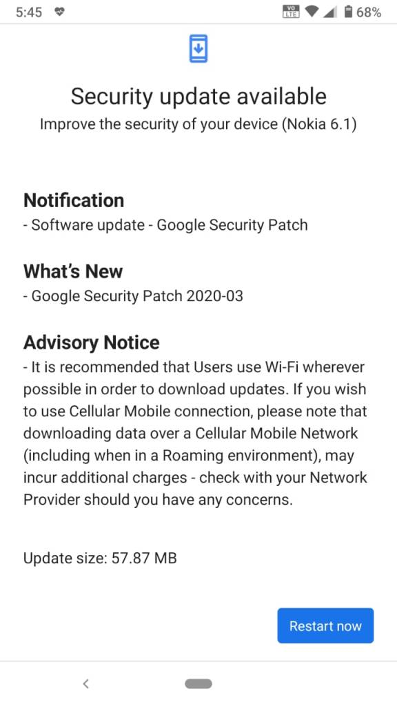 Nokia 6.1 Android Update 00WW_4_10C_SP03 with March 2020 Security Update