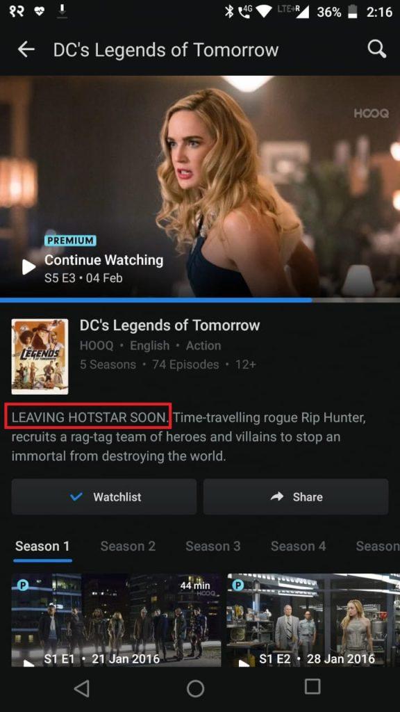 Hotstar notified of HOOQ Shutting Down
