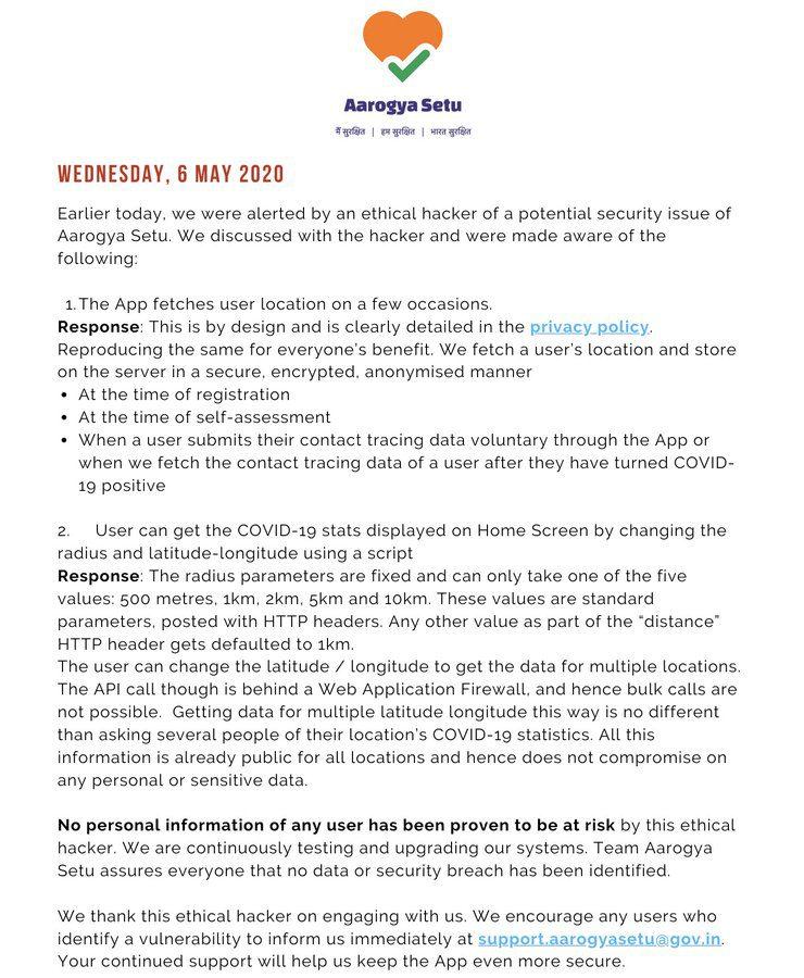 Aarogya Setu App Security Statement