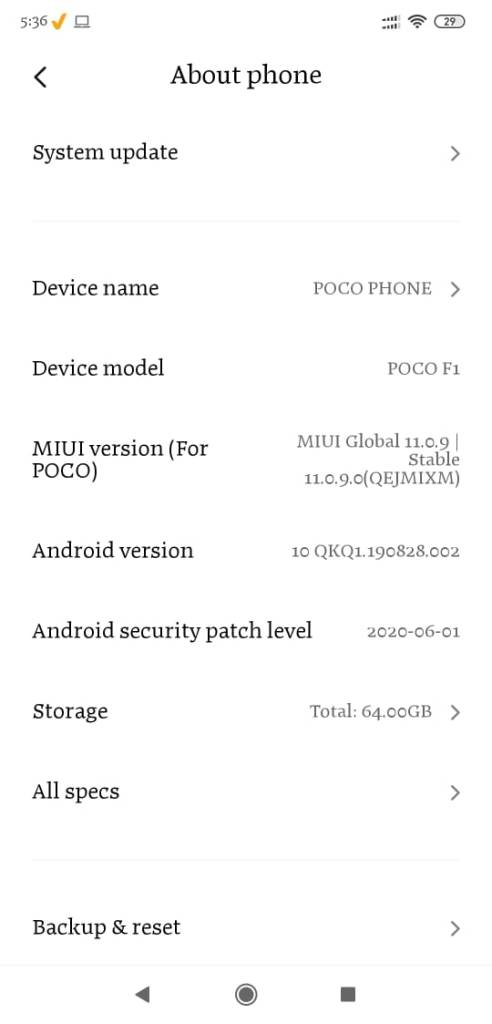 POCO F1 Android 10 update MIUI Build V11.0.9.0.QEJMIXM available 3