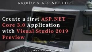 Asp.Net Core 3.0 with visual studio 2019