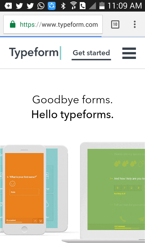 mobile friendly website example - typeform mobile site