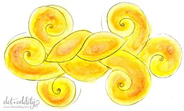 Swedish saffron bread watercolour Maria Larsson