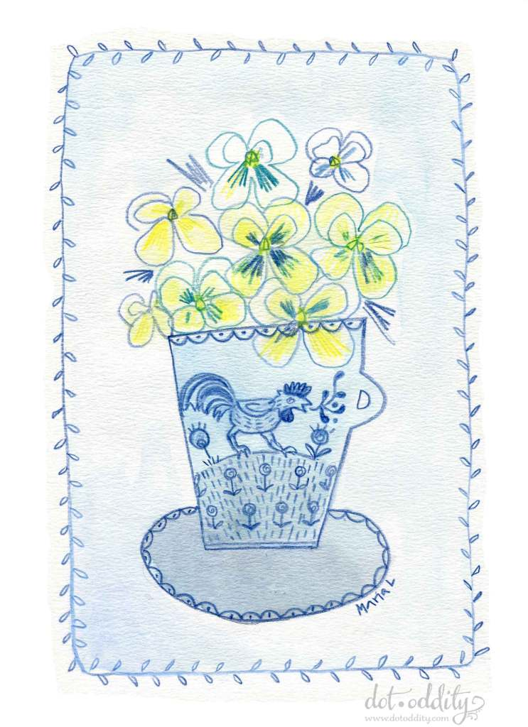 Yellow Pansies by Maria Larsson