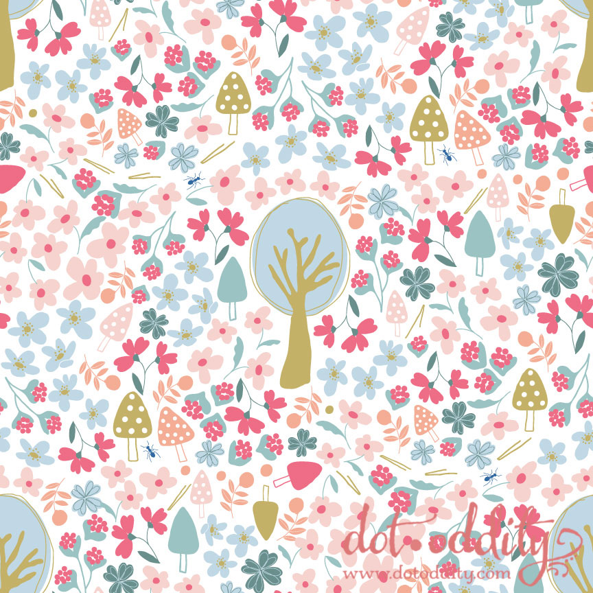Blueberry Wood Floral by Maria Larsson