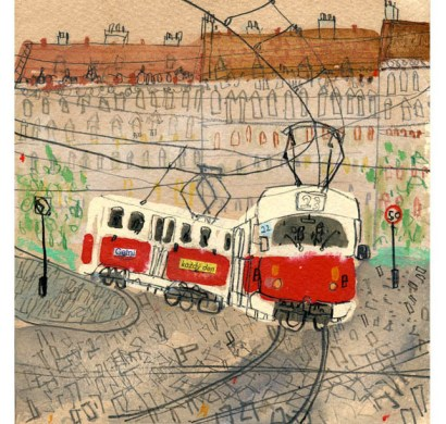 Tram number 22 Prague by Clare Caulfield