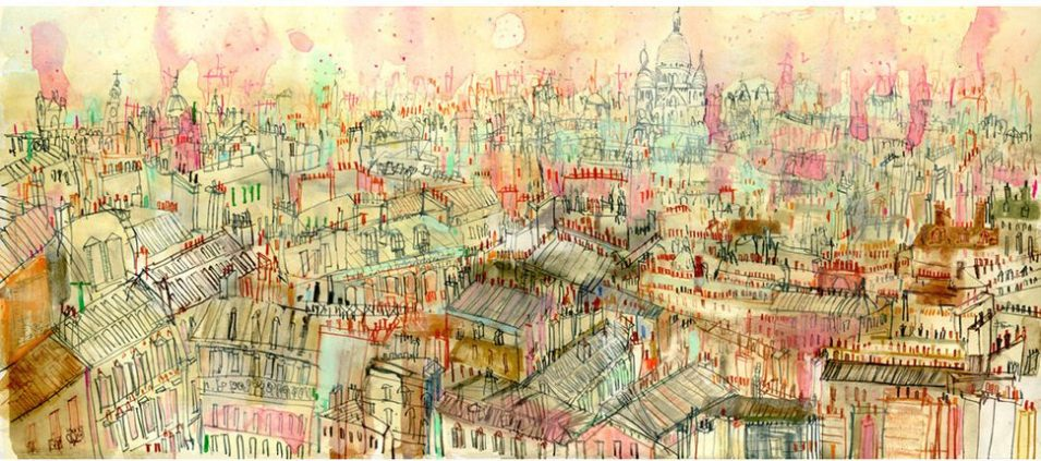 View Paris rooftops by Clare Caulfield