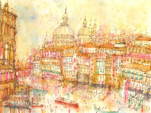 Grand Canal Sunset Venice by Clare Caulfield