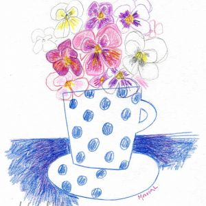 Blue dots and pansies by Maria Larsson