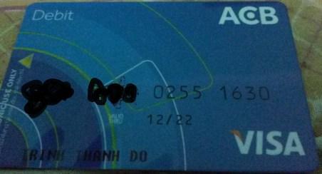 Kinh nghiệm làm thẻ Visa Debit ACB
