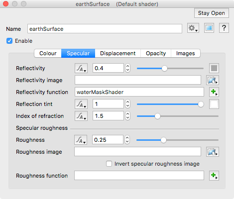 Default shader specular tab