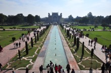 Visão dos jardins de cima do Taj Mahal