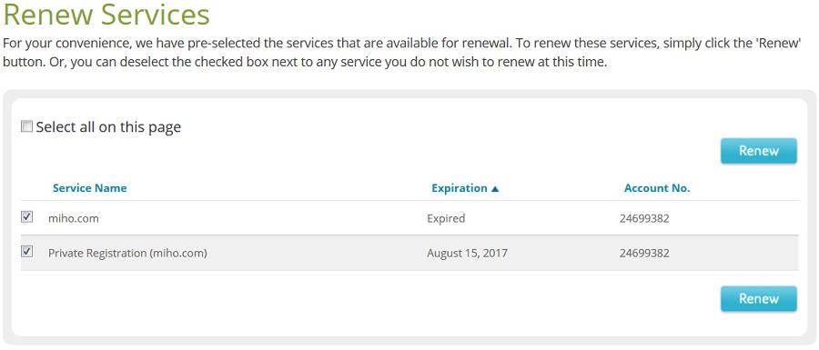 Miho.com Domain Renewal