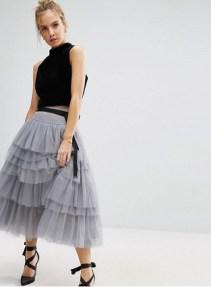 tulle skirt grey