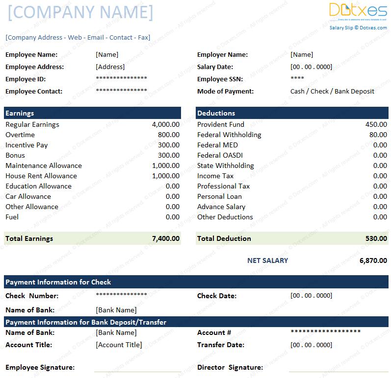 salary slip format for Excel