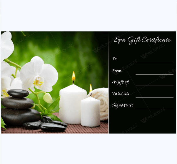 Spa Gift Certificate Formats