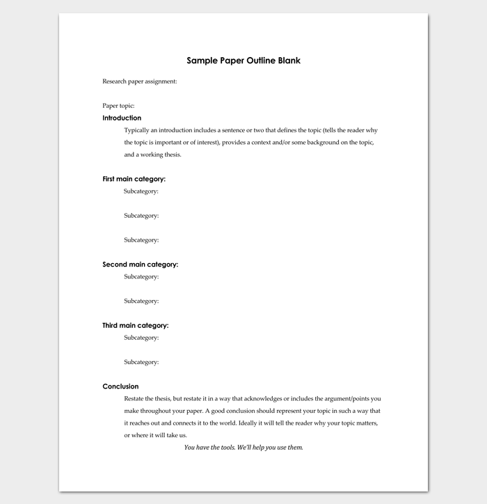 Blank Research Paper Outline Template for PDF