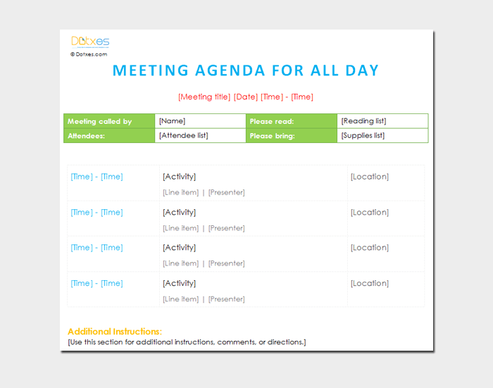 All Day Meeting Outline Template