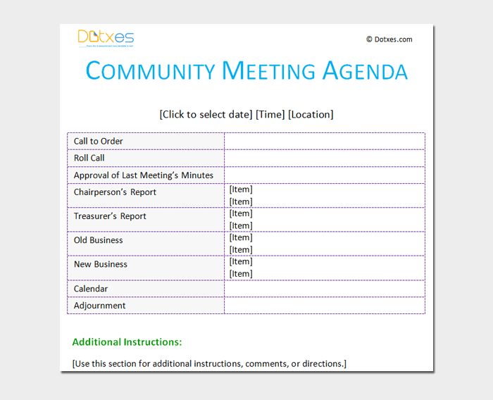 Community Meeting Outline Template