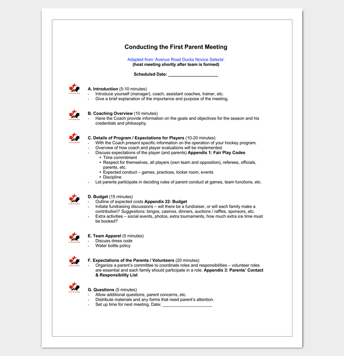 First Parent Meeting Outline for PDF