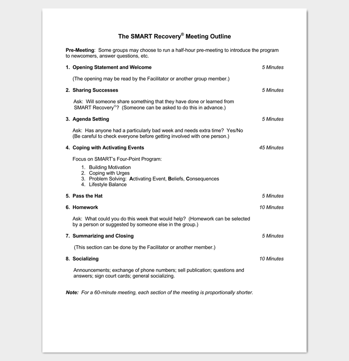 Meeting Minutes Outline Template