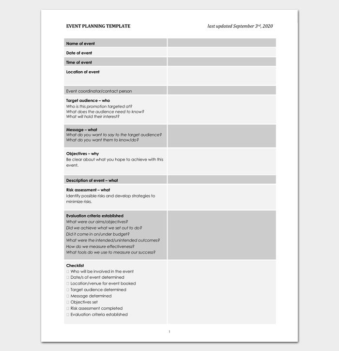 Sample Event Proposal Outline