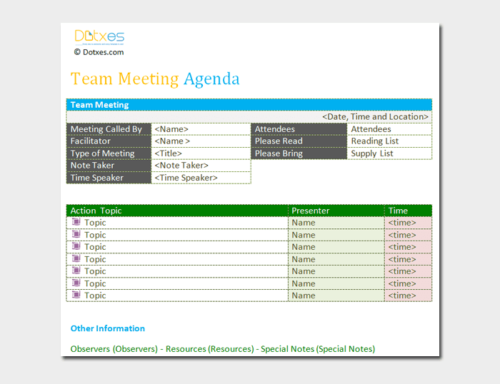 Team meeting agenda Outline
