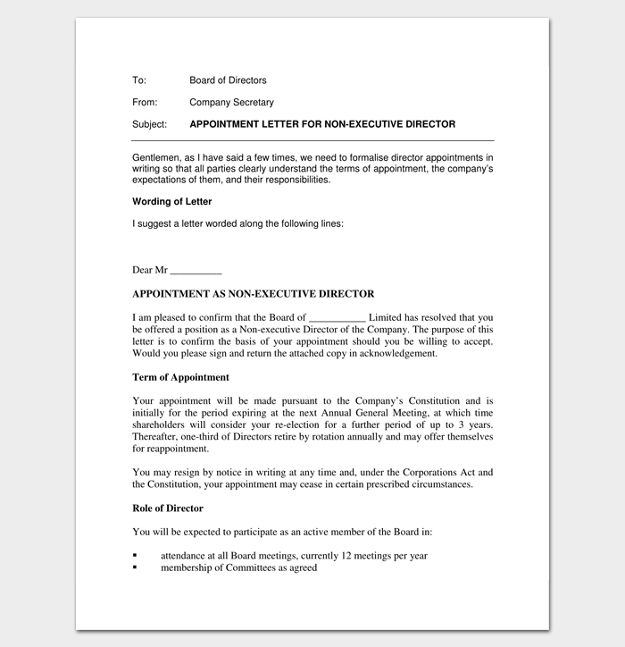 Private Company Appointment Letter PDF Format 1