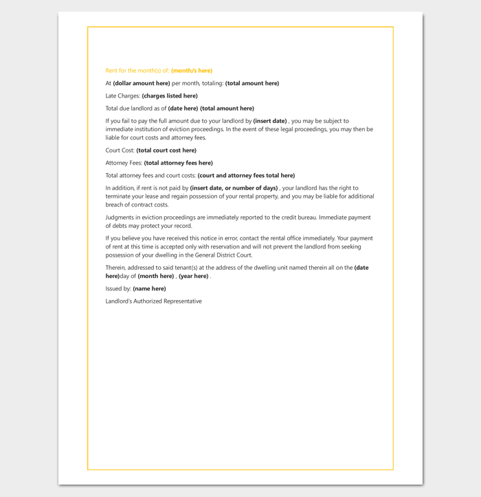 Tenant Late Rent Warning Letter