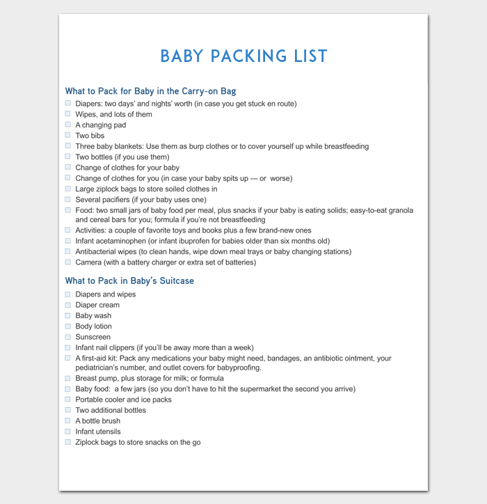 Baby Packing List for Vacation 1