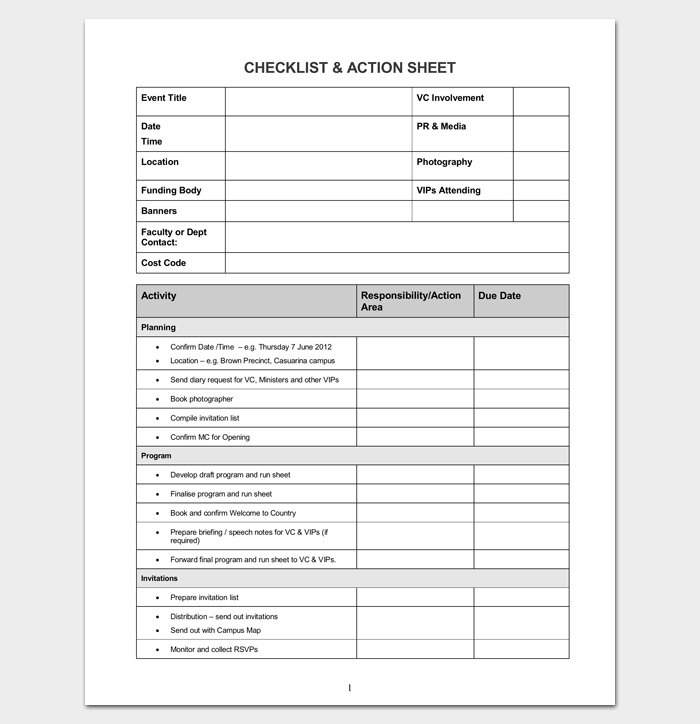 Event Planning Checklist and Action Sheet