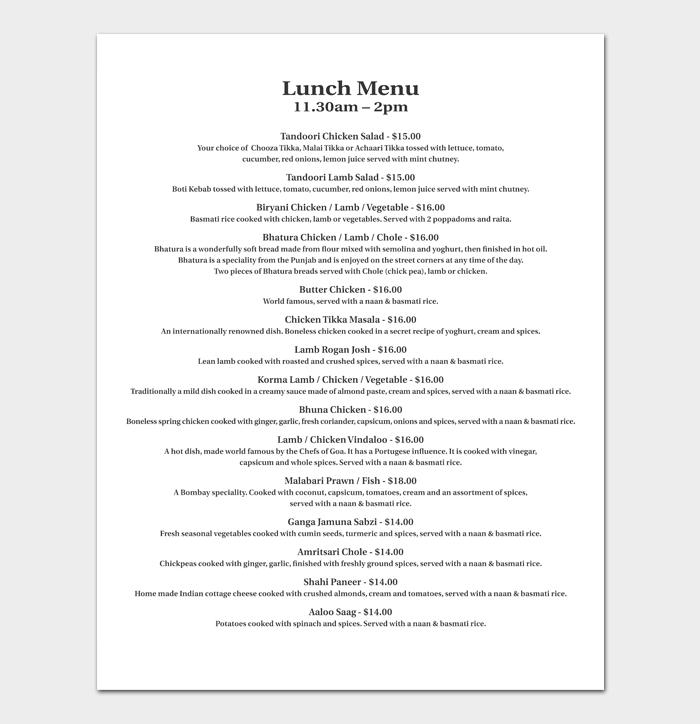 Lunch Menu List 1
