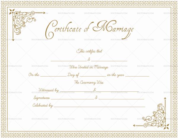Blank Editable Marriage Certificate in Word