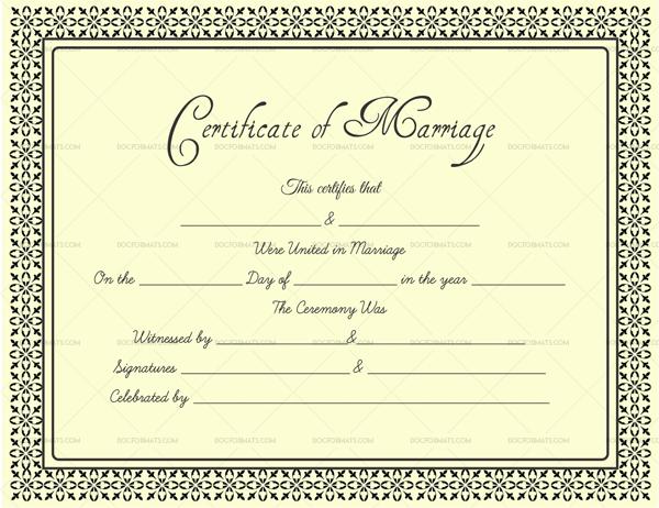 Editable Marriage Certificate Template (in Word, PDF)