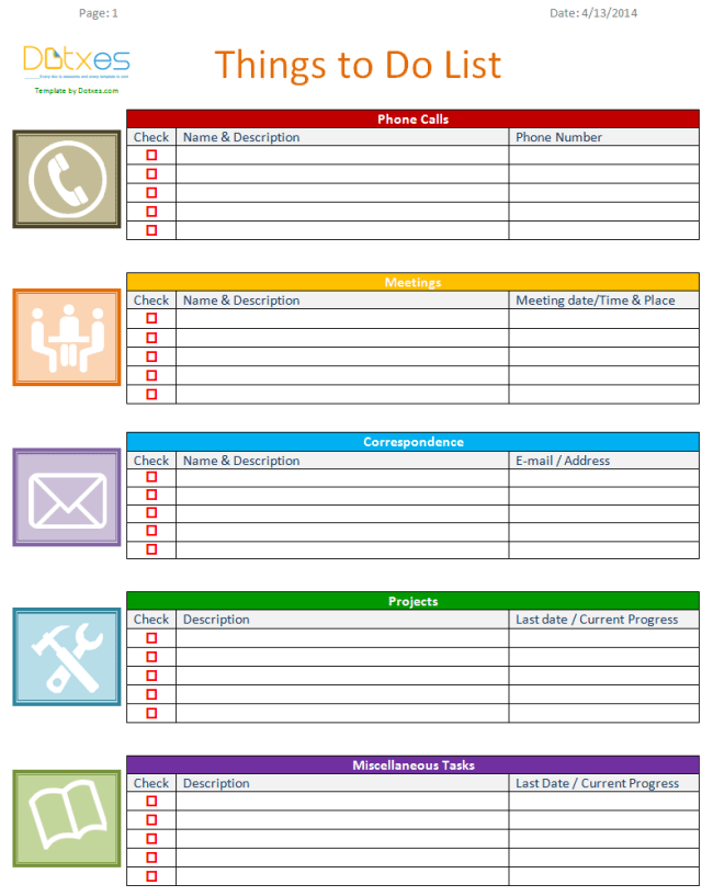 Things-to-do-list-template