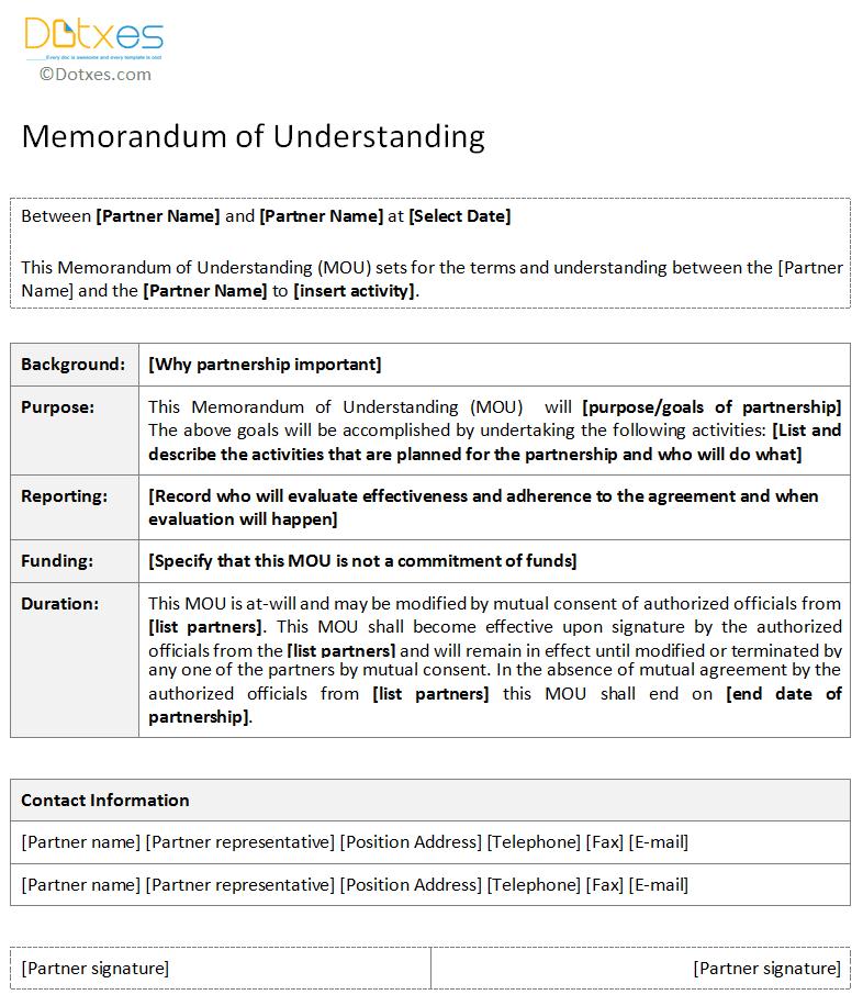 Memorandum of Understanding template form